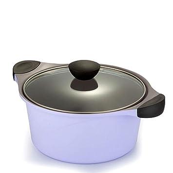 KK revestimiento de cerámica antiadherente - Olla de cocina de gas/doble suelo Stockpot, morado, 24 cm: Amazon.es: Hogar