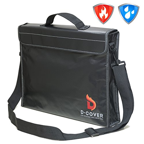 (Fire Resistant Document Bag by D-Cover | Fireproof Document Pouch with Handle and Shoulder Strap: black silicone coated, non-itchy heatproof fiberglass, Velcro fastener and Zipper. Size: 15