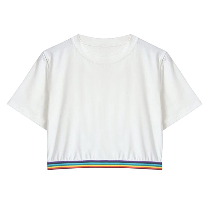 Oberteile Frauen Sommer, Ulanda Teenager Mädchen Mode Crop Top Sport  Rundhals Bauchfrei Shirt Bluse Damen 83d39ce1e8