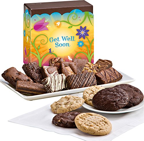 Fairytale Brownies Get Well Cookie & Sprite Combo Gourmet Food Gift Basket Chocolate Box - 3 Inch x 1.5 Inch Snack-Size Brownies and 3.25 Inch Cookies - 18 Pieces