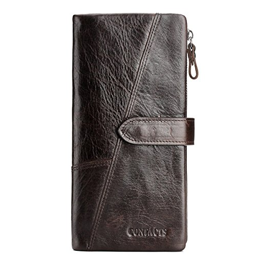 Sheepskin Long Wallet (Contacts Genuine Leather Cowhide Bifold Trifold Coin Zipper Long Wallet Dark Brown)