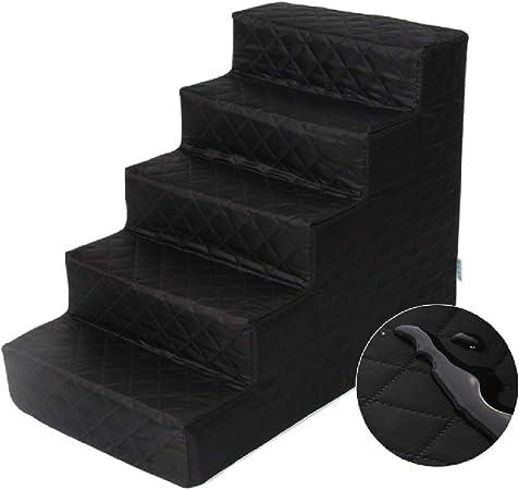 Escalera de Mascota Escaleras Negro Impermeable Perro for Gatos pequeños y Perrito - Portable Pasos for Mascotas/Rampa de Alta Bed & Tall Sofá, Antideslizante Inferior (Size : 5-Step): Amazon.es: Hogar