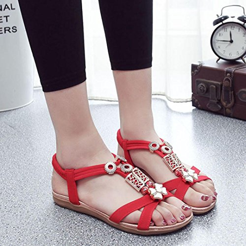 Jamicy Women Girls Fashion Summer Boho Sandals Leather Flat Sandals Shoes Red BBZuXb