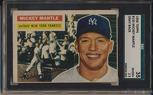 1956 Topps #135 Mickey Mantle HOF Gray Back NY Yankees SGC 35 G 2.5 40628