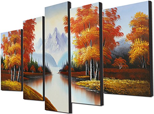 "Ode-Rin Art - 100% Hand Painted Autumn Landscapes 5 Pieces Wall Art Maple River Framed Oil Painting for Living Room, Ready to Hang - (12""x20"" x 2 Panels, 10""x28"" x 2 Panels, 10""x36"" x 1 Panel)"