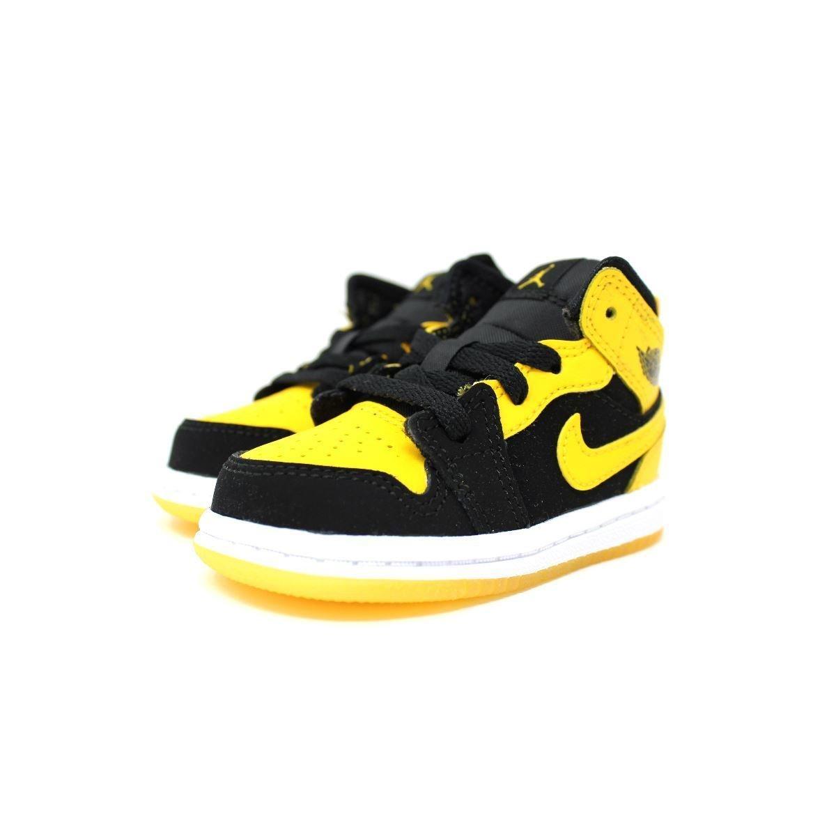 Nike Toddler Boy's Air Jordan 1 (Mid) Basketball Shoes Black/Varsity Maize-White 10C