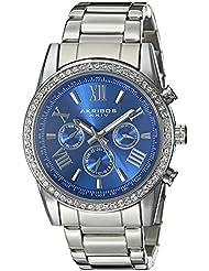 Akribos XXIV Mens AK868SSBU Round Blue Dial Three Hand Quartz Bracelet Watch