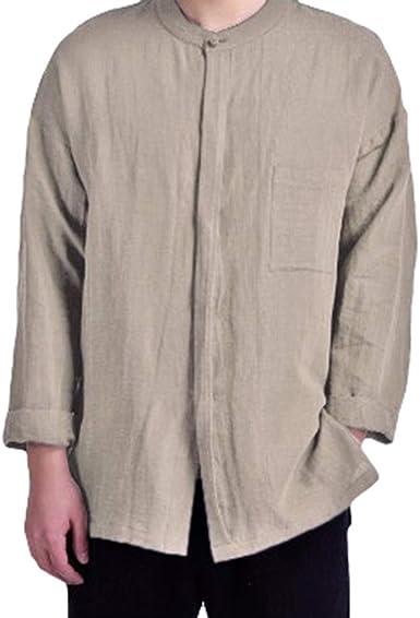 Moda Camisa para Hombre - Manga Larga Color Puro Cuello Mao Shirt con Botón Tops Tallas Grandes Camisas para Primavera y Otoño