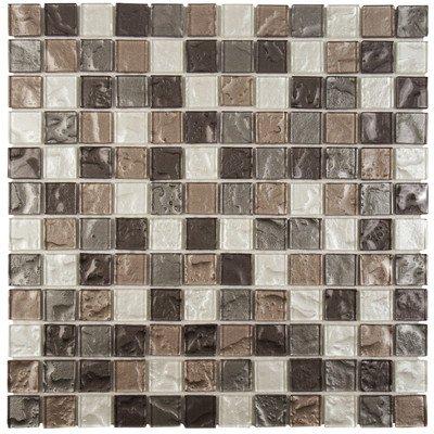 "Stadius 11.75"" x 11.75"" Glass Mosaic Tile in Celestial Gray"