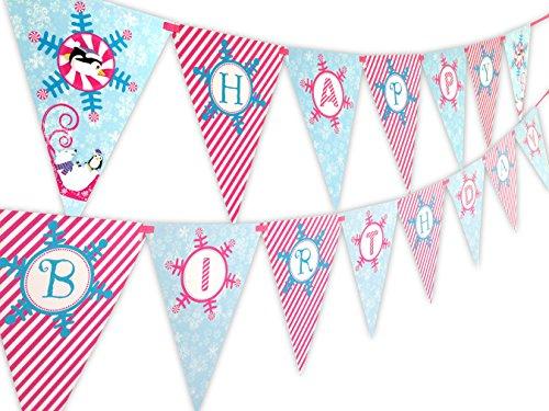 Winter Wonderland Pink Happy Birthday Banner Pennant for $<!--$10.99-->