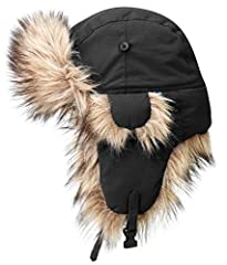 Extremely warm hat with synthetic fur on the peak, ear flaps, and edges. Provides perfect warmth and protection against the elements in both polar climates and biting winds. The outer material is soft, quiet polyester with fluorocarbon-free i...