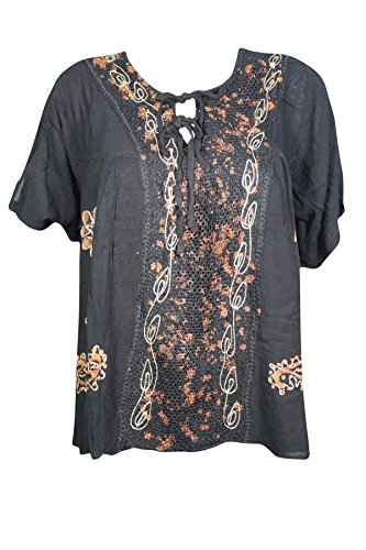 Mogul Interior Lena Womens Beach Tunic Top Casual Beautiful Embroidered Designs Summer Boho Style Blouse Tops X-L (Black) (Tunic Embroidered Heaven)