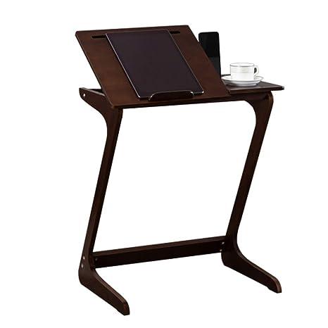 Amazon.com: Mesa auxiliar de bambú con soporte para teléfono ...
