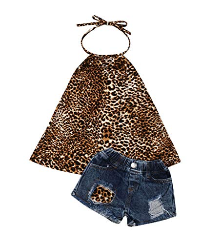- Toddler Kids Clothing Baby Girls Vest Tank Top Ripped Denim Shorts Skirts Outfits Clothes Set (5-6 Years, Leopard)