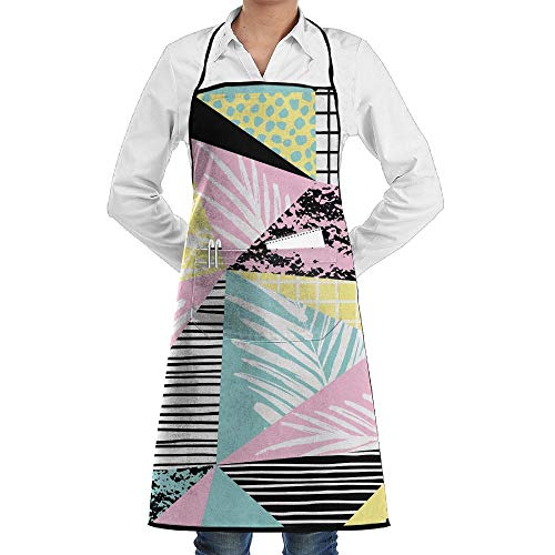 LOGENLIKE Abstract Geometric Pattern Kitchen Aprons, Adjustable Classic Barbecue Apron Baker Restaurant Black Bib Apron With Pockets For Men And Women