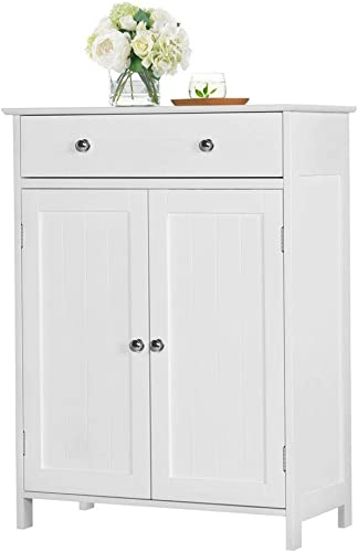 YAHEETECH Free-Standing Bathroom Cabinet Storage Cabinet with 1 Drawer 2 Doors, Adjustable Shelf, 23.6in L x 11.8in W x 31.5in H