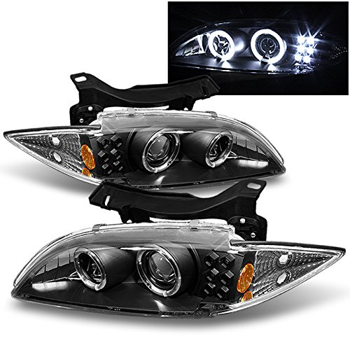 lack Bezel Dual CCFL Halo Ring Design Projector Headlights Front Lamps Left + Right ()