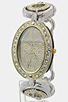 Trendy Fashion Jewelry Oval Crystal Watch w/ 2 Double Ring Band By Fashion Destination