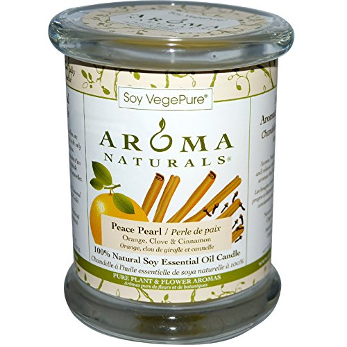 Aroma Naturals 100 Natural Soy Essential Oil Candle Peace Pearl Orange Clove Cinnamon 8 8 oz 260 g
