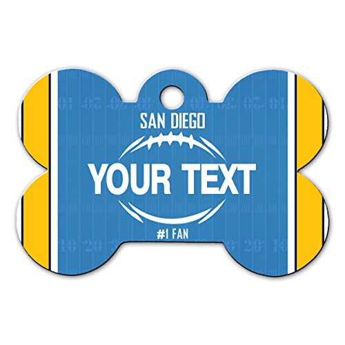 BleuReign(TM) Personalized Custom Name Football San Diego License Plate Bone Shaped Metal Pet ID Tag with Contact Information