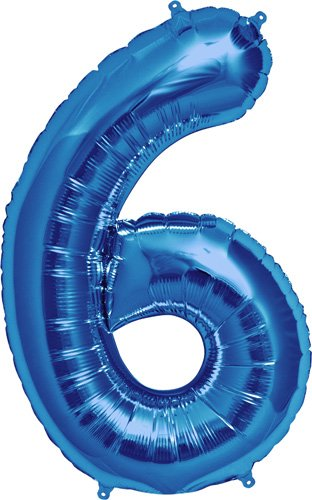 NorthStar Foil Balloon 000130 Number 6 - Blue, 34