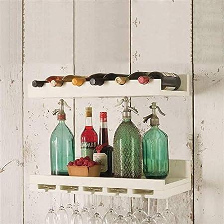 AZHom 2 Niveles de 60 cm montado en la Pared Estante del Vino Natural de Madera de Pino multifunción Colgar de la Pared Estante de Almacenamiento de Vino del sostenedor de Botellas Estantes Unidad de