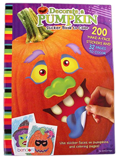 Decorate a Pumpkin Sticker Book to Color -
