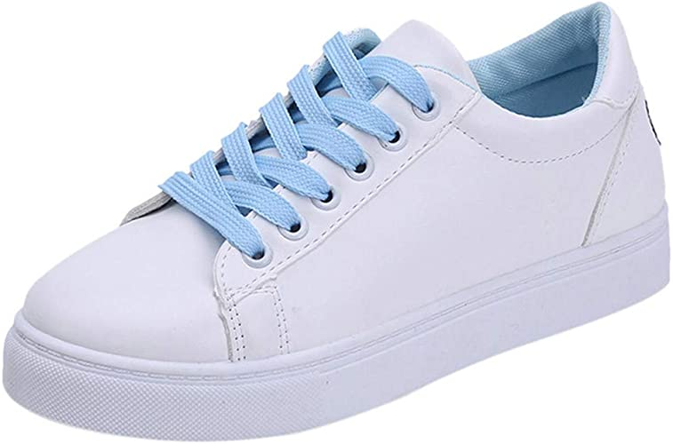 Zapatillas De Deporte para Mujer Moda Bordado Dibujos Animados Gato Punta Redonda Plana Blanca Zapatos Ocasionales (Azul, 35)