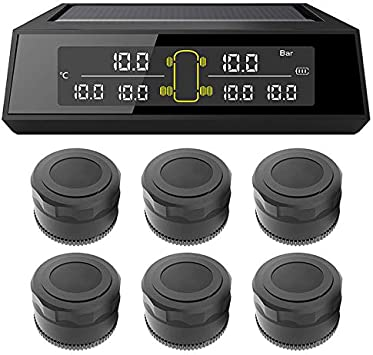 Elikliv Car RV Truck TPMS Tyre Pressure Monitoring System Wireless Solar Power Digital LCD Display Car Tow Trailers Auto Security Alarm Systems With 6 External Sensors