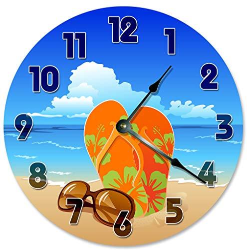 Sugar Vine Art Sandals Sunglasses Clock Decorative Round Wall Clock Home Decor Large 10.5