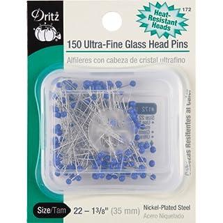 Dritz 172 Glass Head Pins, Ultra Fine, 1-3/8-Inch (150-Count)