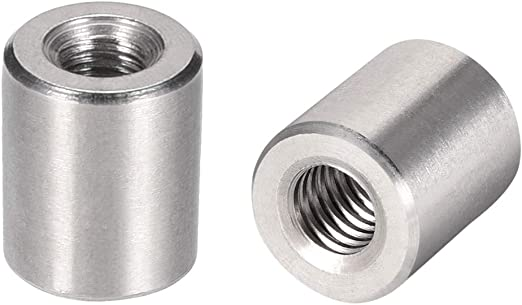 6mm 20 Pack M6 x 20 A2 Stainless Steel Round Studding Connector Nuts Threaded Rod Bar Couplers