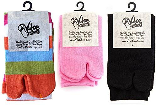 3 Pairs - V-Toe Novelty Flip Flop Tabi Socks - Variety Pack