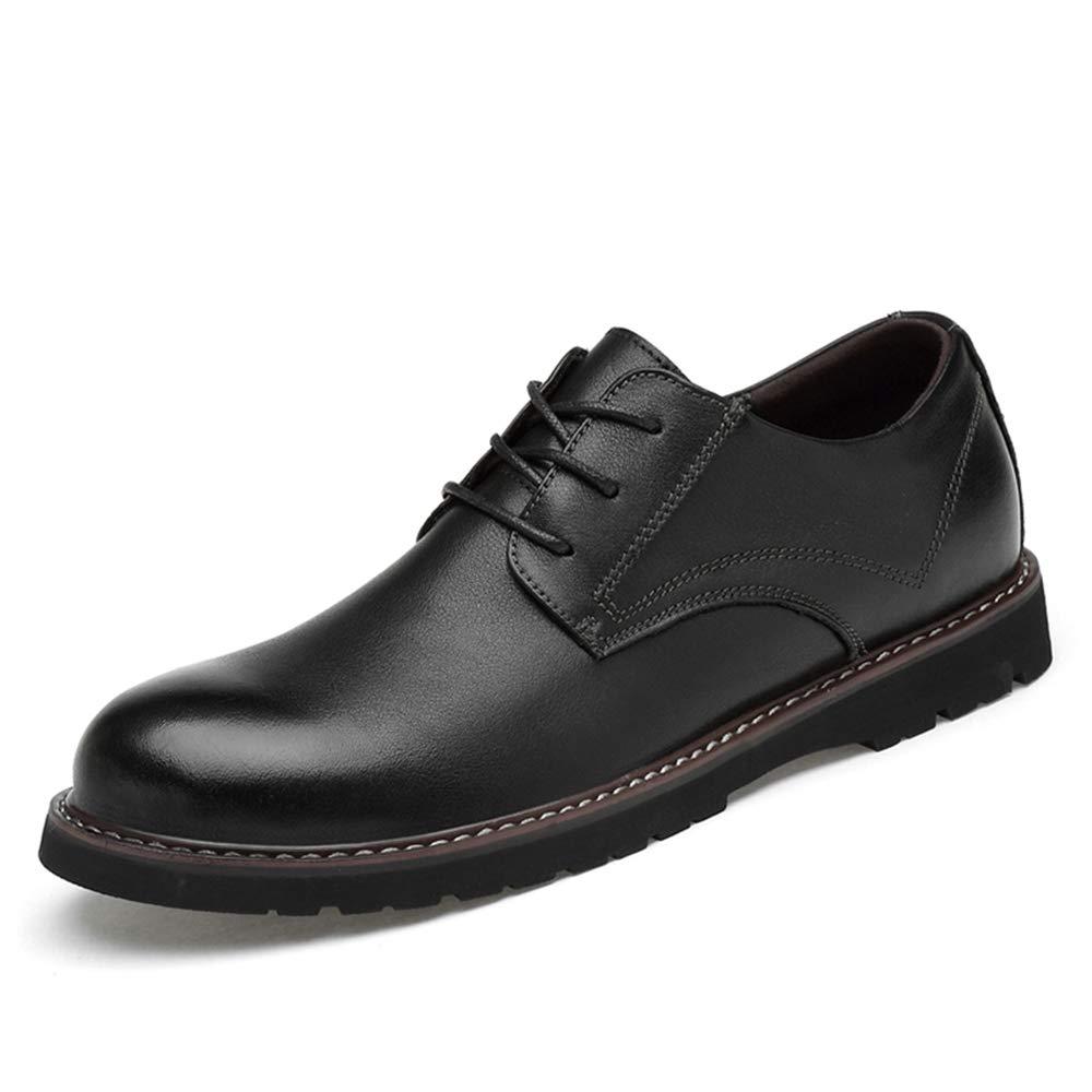 HILOTU Herrenmode Oxfords Lässige runde Zehe Schnürschuhe mit flachem Absatz Rutschfeste Formale Schuhe aus Gummi    Ästhetisches Aussehen