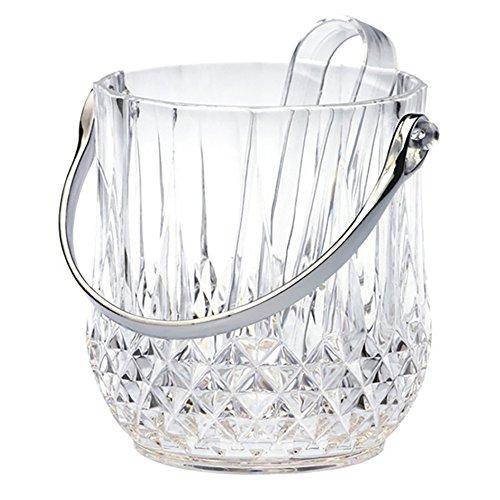 HXJ Tableware Acrylic Ice Bucket with Tongs, Champagne, Wine Cooler Bucket (34.2oz) -