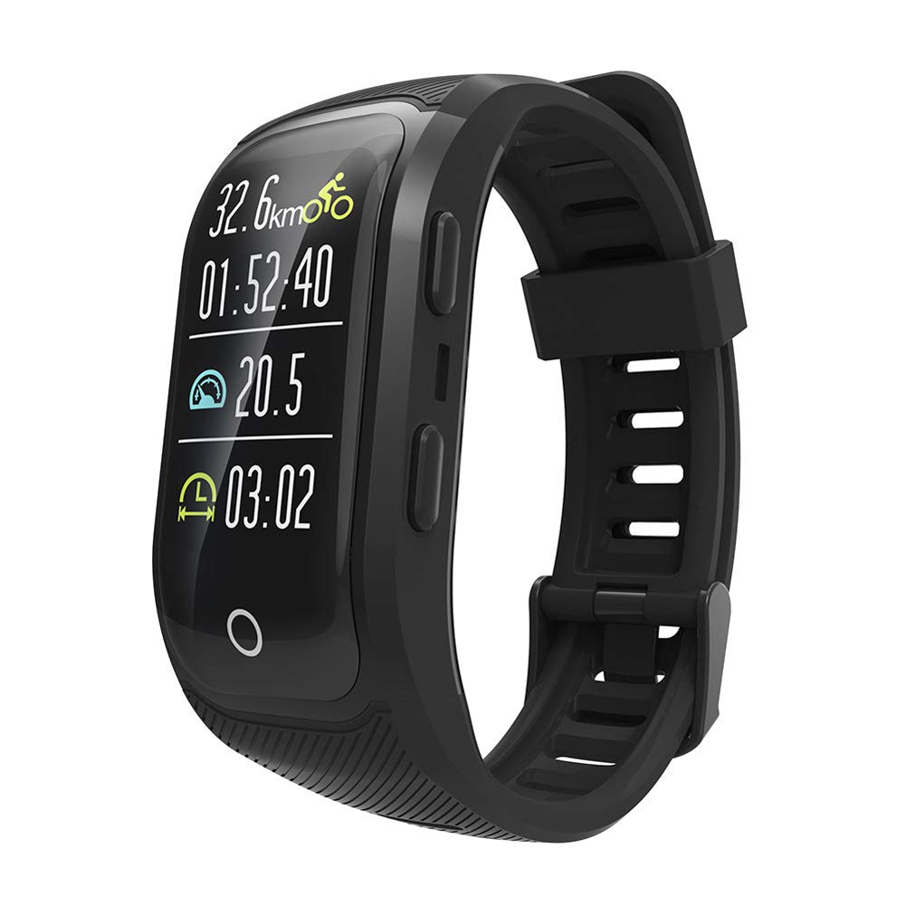 HHRONG Smart Bracelet GPS Wristband, Activity Tracker Full Heart Rate Watch with Heart Rate Monitor, Ip67 Waterproof Compatible with Android iOS-Black by HHRONG