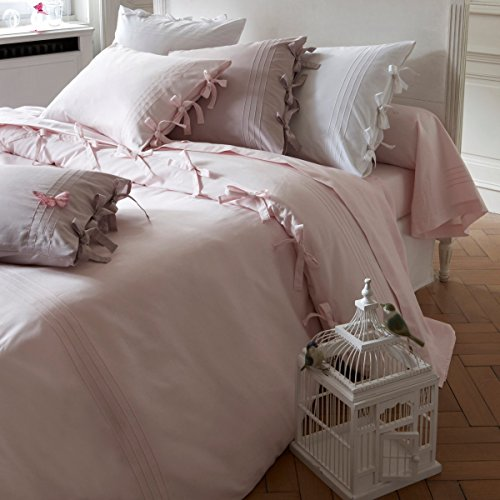 Twins Pink Ribbon - Friends at Home 3 Piece-Duvet Cover King Set - 100% Cotton, Soft, Hypoallergenic, Comfy, Fuzzy Bedding Hotel Collection Bowknot BOE Tie Ribbon (Pink)