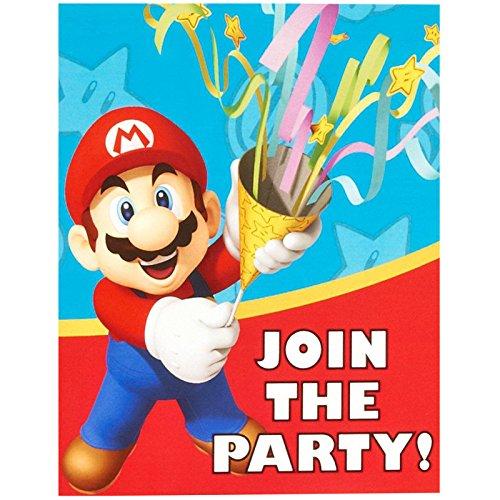 Forum Novelties Super Mario Invitations (8) Party Supplies, Multicolor -
