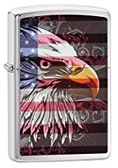 Display your love of the United States with this bald eagle and American flag lighter. This brushed chrome windproof lighter features two of the most symbolic images of the United States on this lighter; the national bird and the American fla...