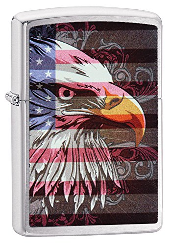 Zippo American Eagle and Flag Pocket Lighter, Brushed ()