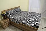 Bedding 3 PCs Duvet Set (1 Duvet Cover & 2 Pillowcase) 100% Pure Cotton 600 Thread Count (Zebra Animal Print, Full Size) Sleep Well