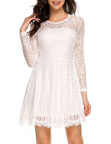 ANGVNS Women Vintage 1950s Style Long Sleeve Lace Flare A-Line Dress, White, S