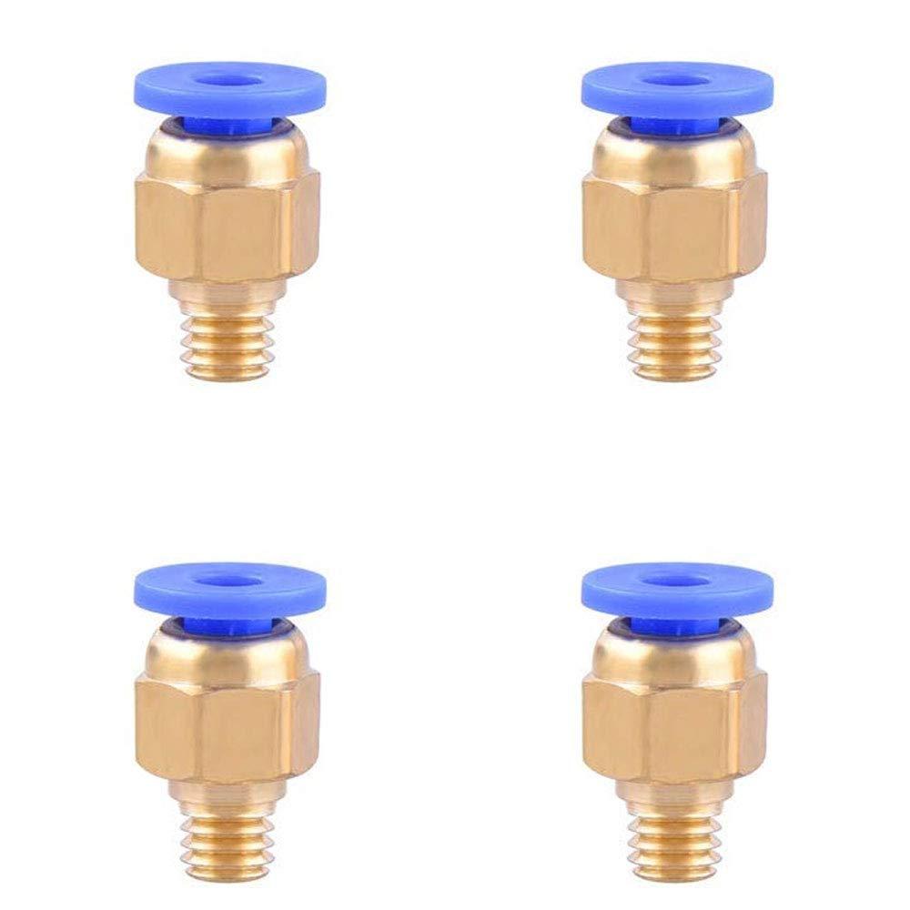 NACTECH 4 Pcs Raccord Pc4-M6 en Cuivre Droite Pneumatique Montage Push to Connect pour Téflon Tube PTFE Bowden Extrudeuse 1.75 mm Filament Imprimante 3D (2.0mm ID/4.0mm OD)