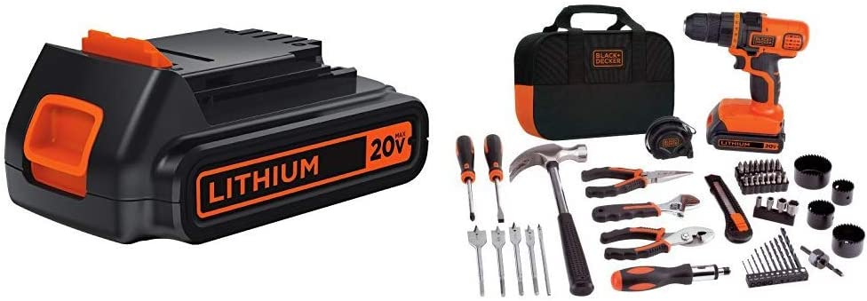 BLACK+DECKER LBXR20 20-Volt MAX Extended Run Time Lithium-Ion Cordless To with BLACK+DECKER LDX120PK 20V MAX Cordless Drill and Battery Power Project Kit