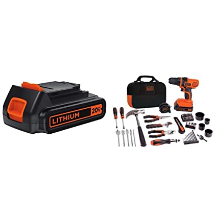 BLACK+DECKER LBXR20 20-Volt MAX Extended Run Time Lithium-Ion Cordless To with BLACK+DECKER LDX120PK 20V MAX Cordless Drill and Battery Power Project ...