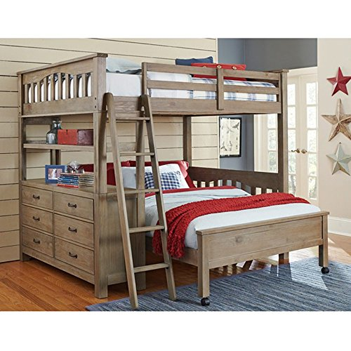 NE Kids Highlands Full Loft Bed with Full Lower Bed in Driftwood - Loft Lower Bunk