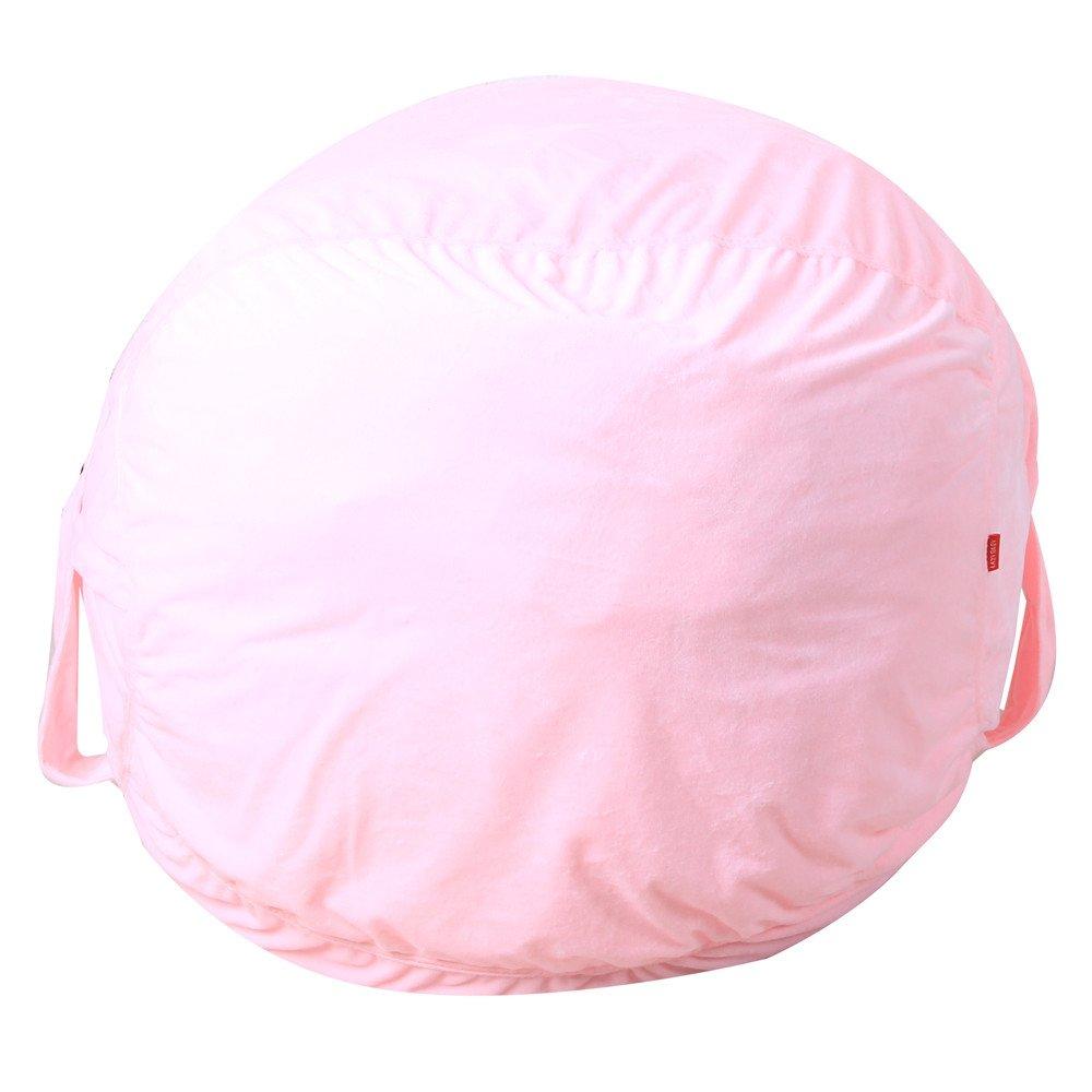 MSOO Kids Stuffed Animal Plush Toy Storage Bean Bag Soft Pouch Stripe Fabric Chair (Pink)