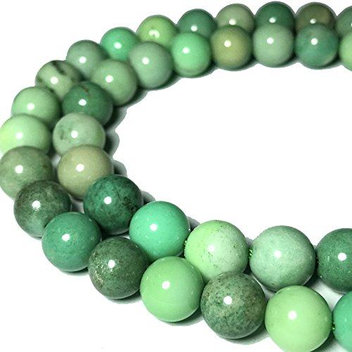 [ABCgems] Rare Australian Chrysoprase AKA Australian Jade (Beautiful Color- Exquisite Matrix) Tiny 6mm Smooth Round Beads for Beading & Jewelry Making