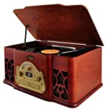 Pyle Vintage Turntable - Retro Vinyl Stereo w/ Bluetooth, CD Player, USB Reader, SD Card Slot & Speakers - Record AM/FM Radio and Other Audio Files to MP3 w/ Remote (PTCD64UBT) (Certified Refurbished)