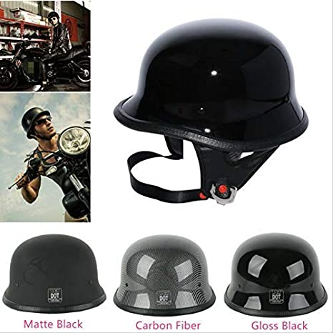 Large TCT-MT DOT Adult Helmet Half Face German Motorcycle Helmet Hopper Cruiser Biker Gloss Black Helmet